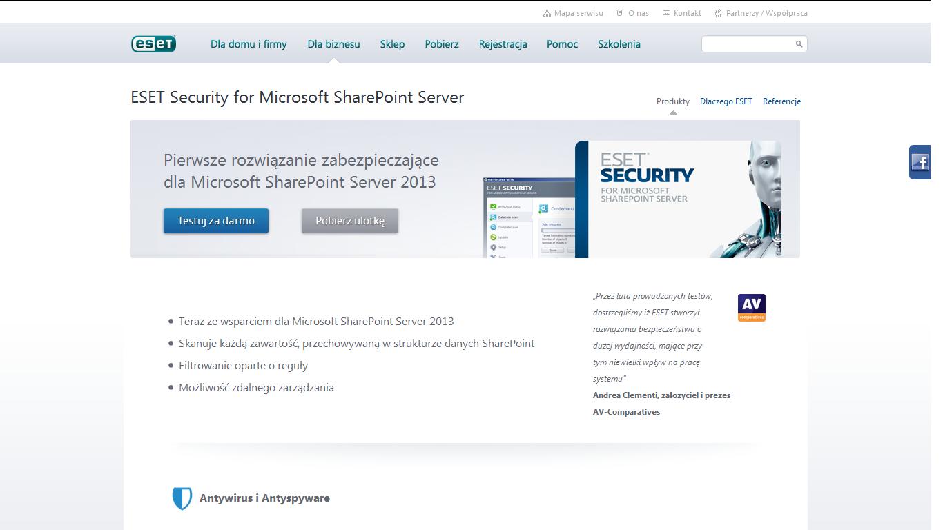 Eset ochroni Microsoft SharePoint Server 2013