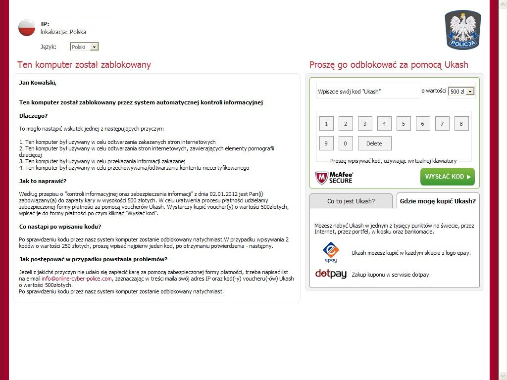 Atak wirusa – cyberprzestępcy szantażują polskich internautów