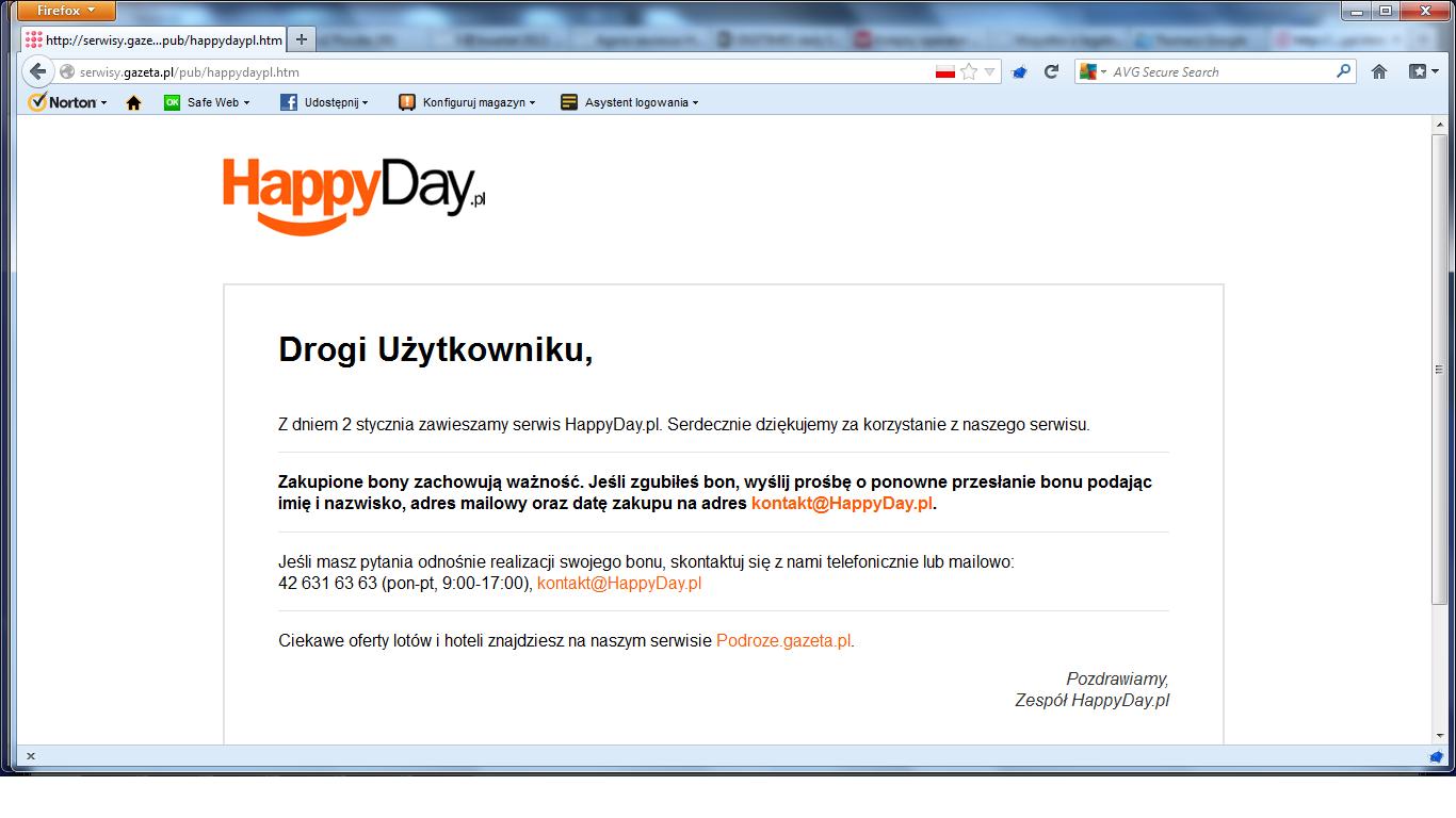 HappyDay zawieszony