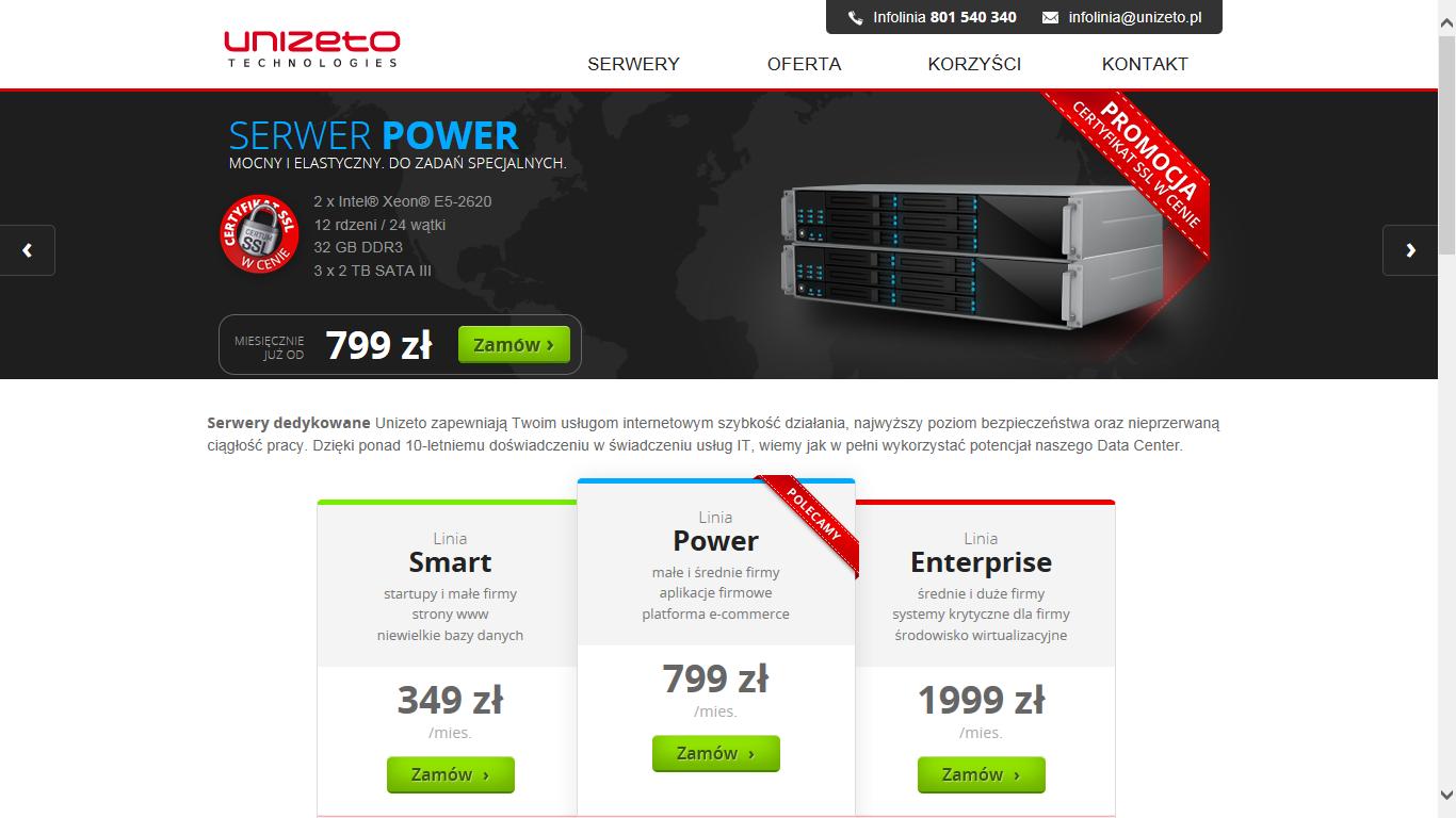 Unizeto wchodzi na rynek usług serwerowych