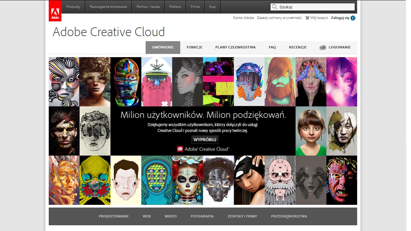 Adobe: milion w chmurze